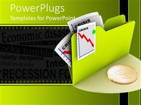 PowerPlugs: PowerPoint template with a folder with graphs and arrows with a gold coin