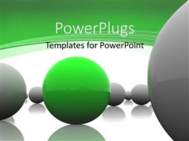 PowerPlugs: PowerPoint template with lots of ash colored balls with a green one in the middle