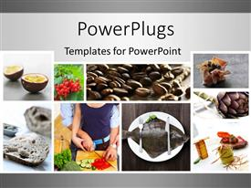 PowerPlugs: PowerPoint template with food collage with grey color
