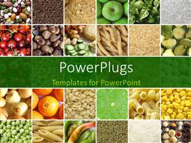 PowerPlugs: PowerPoint template with food collage including fresh vegetables and fruits depicting health concept