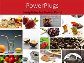 PowerPoint template displaying food collage with red color
