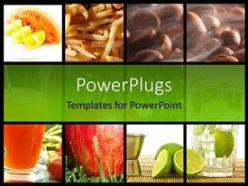 PowerPlugs: PowerPoint template with food and drink collage depicting healthy lifestyle with green color