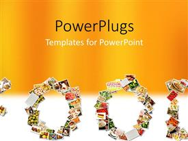 PowerPlugs: PowerPoint template with food Menu Collage in Letters of Alphabet with orange color