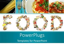 PowerPoint template displaying food Menu Collage in Letters of Alphabet with noodles