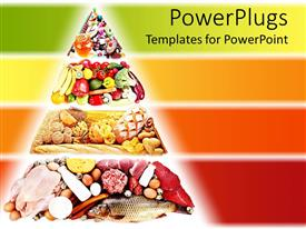Colorful presentation having food pyramid containing foods for a healthy diet with various food types on red, orange, yellow and green layered background