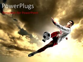 PowerPlugs: PowerPoint template with a footbaler in air trying to kick