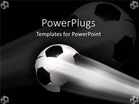 PowerPlugs: PowerPoint template with a football in the air with a blackish background including five footballs