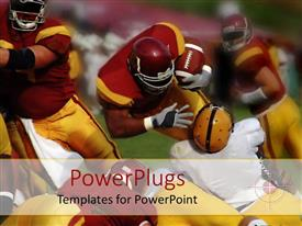 PowerPlugs: PowerPoint template with football match with fullback powering on for touchdown