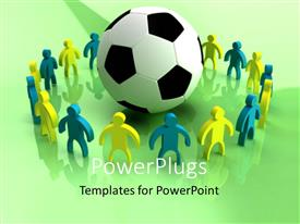 PowerPlugs: PowerPoint template with a football in the middle and a number of people surrounding it