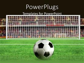 PowerPlugs: PowerPoint template with football placed in front of the goal for a kick