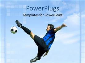 PowerPoint template displaying football player in blue and black uniform kicking a ball