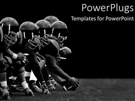 PowerPlugs: PowerPoint template with football players hike black and white teamwork rough play sports athletes