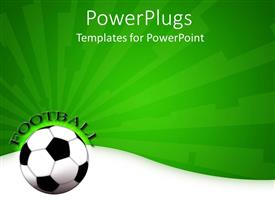 PowerPlugs: PowerPoint template with a football shown with a greenish background and a bit of text