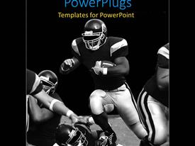 PowerPlugs: PowerPoint template with football team dressed in black and white colored jerseys during match