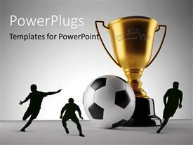PowerPlugs: PowerPoint template with a football with three people and a world cup
