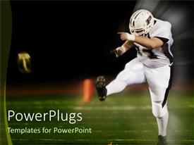 PowerPlugs: PowerPoint template with football in uniform player kicking ball
