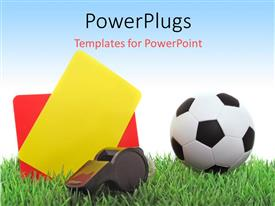 PowerPlugs: PowerPoint template with a football with a whistle and the cards