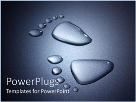 PowerPlugs: PowerPoint template with footprints made of water on black illuminated background