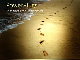 PowerPlugs: PowerPoint template with footprints in the sand along the beach tan
