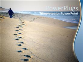 PowerPoint template displaying footprints in sand near ocean, person walking on beach