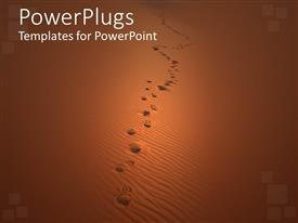 PowerPoint template displaying footsteps on sand dunes in Sahara desert, desert background with human footsteps