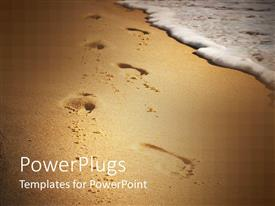 PowerPlugs: PowerPoint template with footsteps showing in beach sand with sea wave approaching