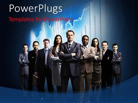 PowerPlugs: PowerPoint template with foreign exchange chart with business team and leader