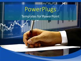PowerPlugs: PowerPoint template with foreign exchange chart with hand taking note on white paper