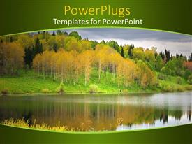 PowerPoint template displaying a forest with a lake and the reflection of trees in the lake