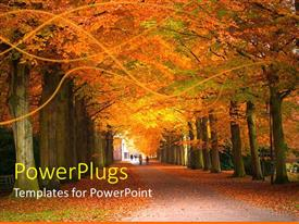 PowerPlugs: PowerPoint template with forest path in fall, autumn leaves