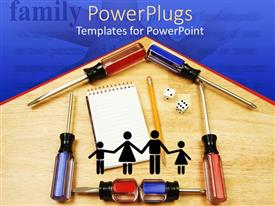 PowerPlugs: PowerPoint template with formation of a house with screw drivers, pencils and jotter