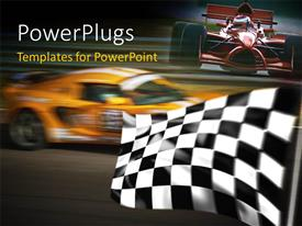 PowerPoint template displaying formula one race with blurred background