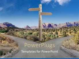 PowerPlugs: PowerPoint template with fort in the road two directions to choose street sign in desert