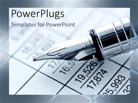 PowerPlugs: PowerPoint template with fountain pen calculating finance reports business accounting black and white