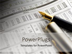 PowerPlugs: PowerPoint template with fountain pen lying on a financial newspaper of retail share prices