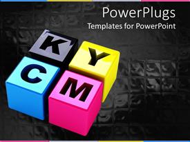 PowerPlugs: PowerPoint template with four 3D boxes with various alphabets