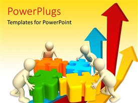 PowerPlugs: PowerPoint template with four 3D characters trying to arrange four pieces of puzzles