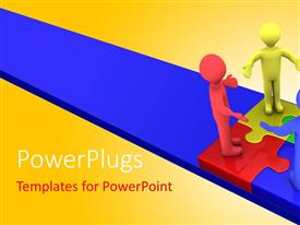 PowerPlugs: PowerPoint template with four multicolored 3D characters standing on colored puzzle pieces