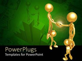 PowerPoint template displaying four 3D gold colored human characters shaking hands
