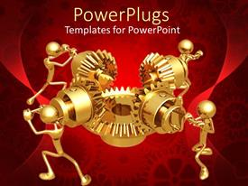 PowerPlugs: PowerPoint template with four 3D golden figures working in team to make mechanical gear work
