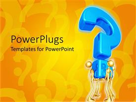 PowerPlugs: PowerPoint template with four 3D human characters holding up a large blue question mark