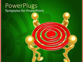 PowerPlugs: PowerPoint template with four 3D human characters holding up a red target
