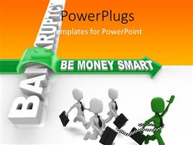 PowerPlugs: PowerPoint template with four 3D human characters in a race with one leading the others
