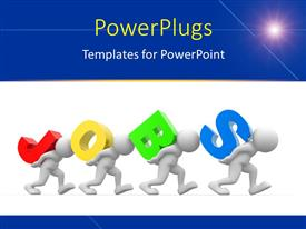 PowerPlugs: PowerPoint template with four 3D men carrying colored letter forming word JOBS over white surface