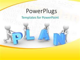 PowerPlugs: PowerPoint template with four 3D men putting letters together to form PLAN