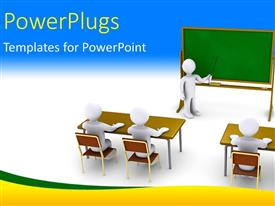 PowerPlugs: PowerPoint template with 3D characters of a teacher teaching pupils in a class room