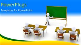 PowerPoint template displaying 3D characters of a teacher teaching pupils in a class room