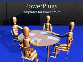 PowerPlugs: PowerPoint template with four 3D wooden figures sitting around a round table with white papers in front of them