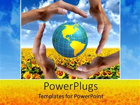PowerPlugs: PowerPoint template with four adult hands covering an earth globe on a flower field