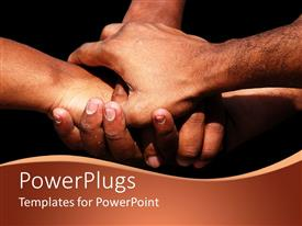 PowerPlugs: PowerPoint template with four adult hands showing team work on a black background